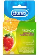 Durex Condoms Tropical Assorted Flavors And Colors 3 Each...