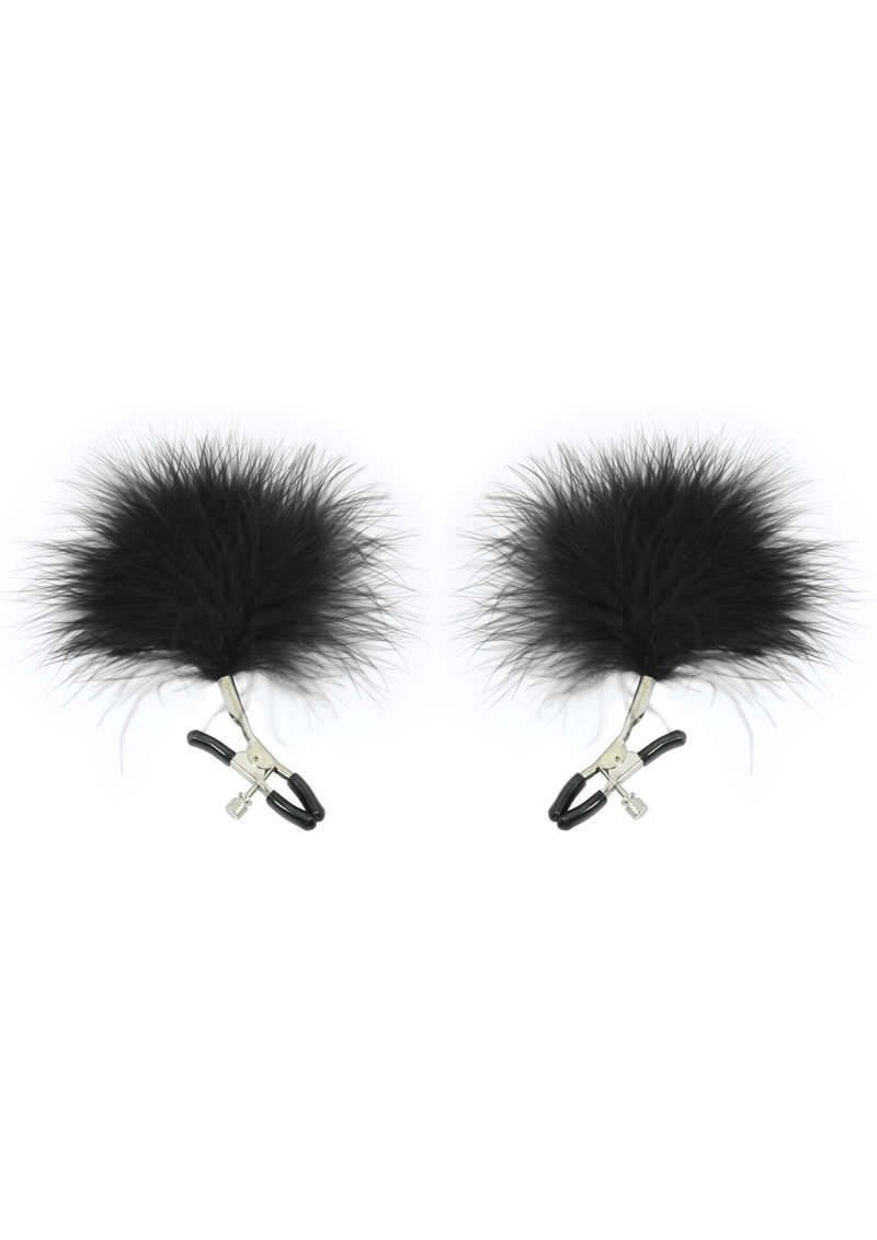 Sex And Mischief Feathered Nipple Clamps Black
